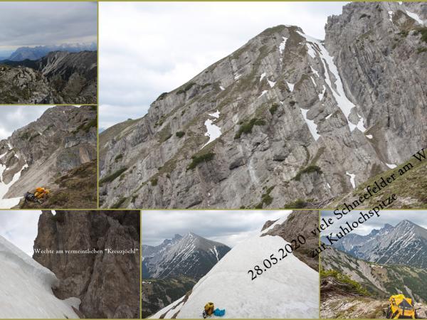 Auf viele Schneefelder trifft man noch am Weg zur Kuhlochspitze
