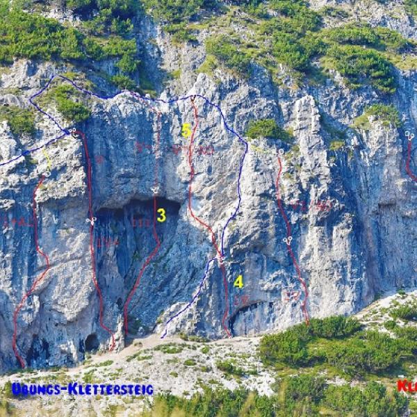 Überprüfte Anlagen: 1 Klettersteig, 2,3,4, überprüfte Kletterrouten! 5 ab dem Stand von 4 ist noch nicht überprüft!!